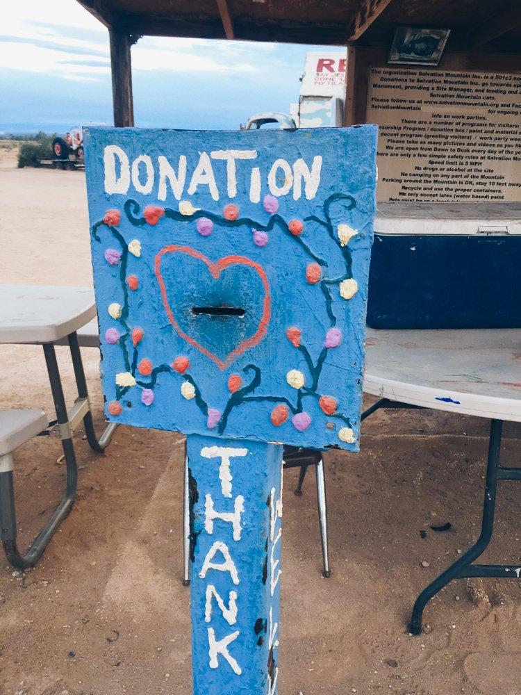 Donation - Visiting Salvation Mountain, California