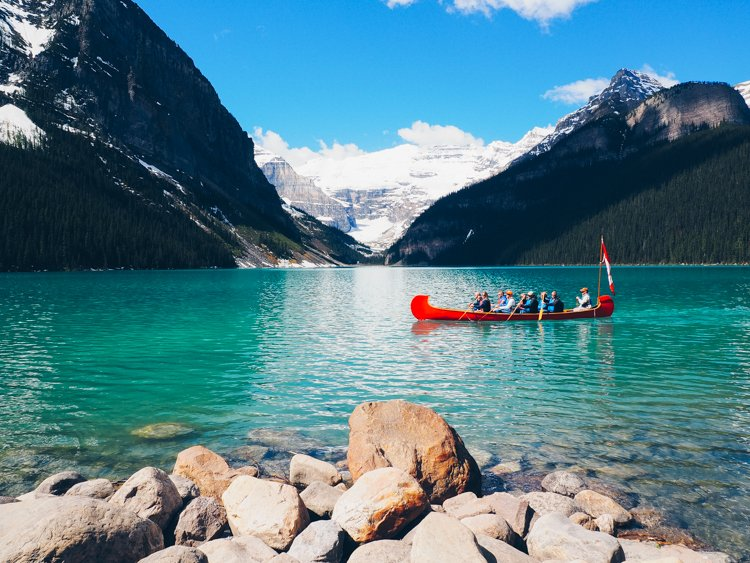Canoeing - Visiting Lake Louise, Banff National Park, Alberta Canada